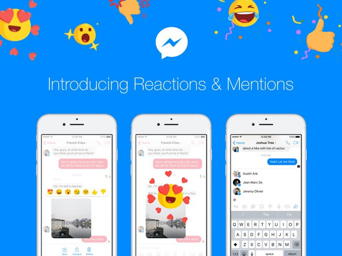 Facebook Reactions and Mentions on Messenger