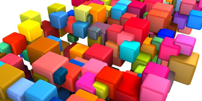 Interlocking colored blocks.