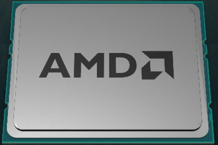 Image of an AMD logo on a chip.