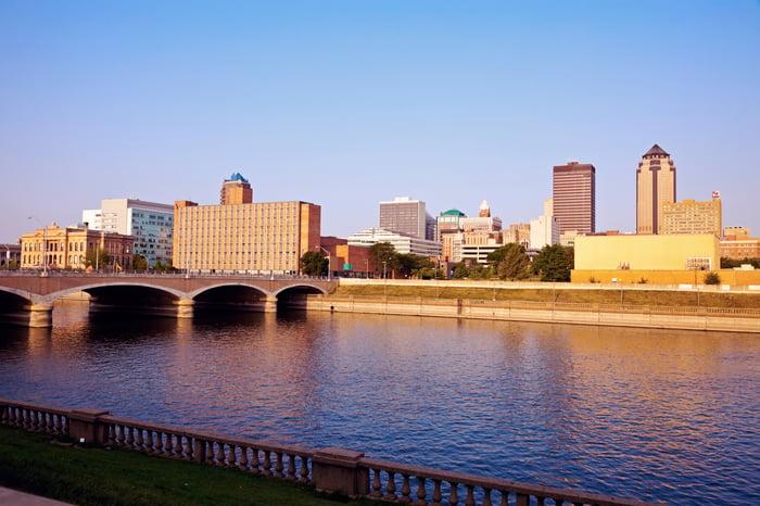 City skyline of Des Moines.