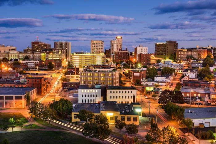 Evening view of Portland, Maine.
