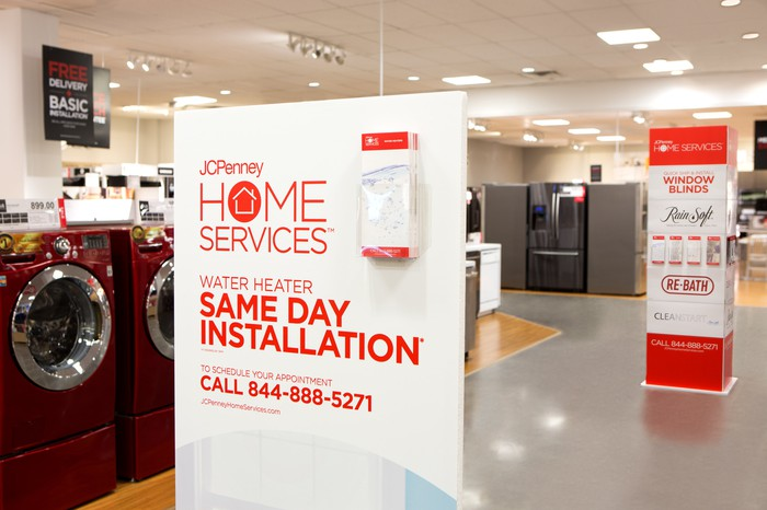 A display advertising J.C. Penney's home services in a store.