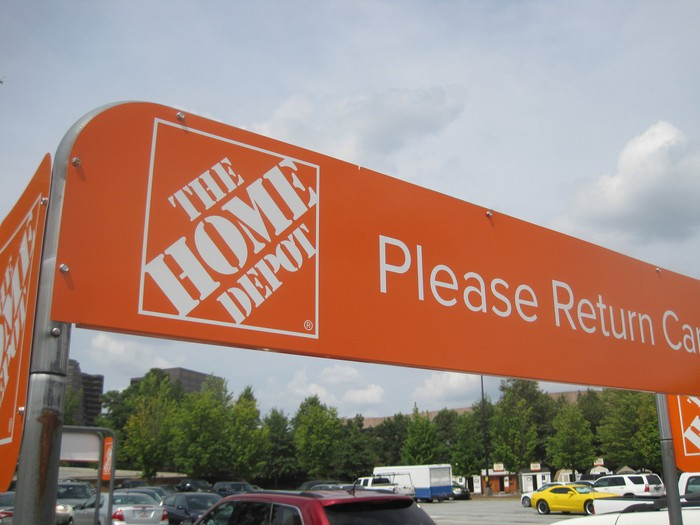A shopping-cart return area at Home Depot