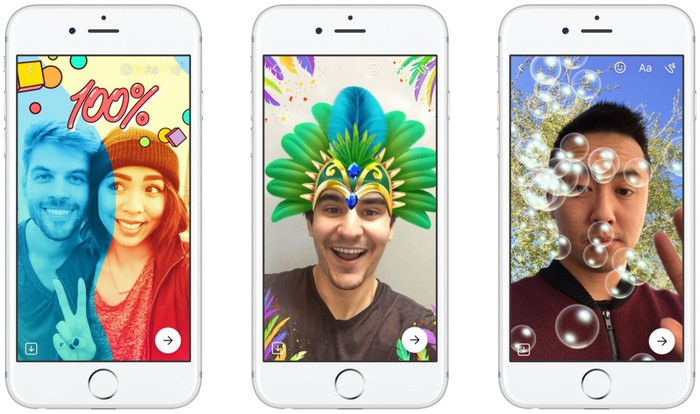 Users play with various filters in Facebook Messenger using the Snap-like Stories features
