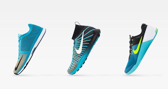 Three Nike training shoes.
