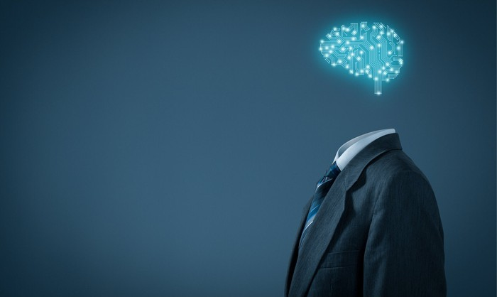"""A """"headless"""" businessman with a cloud-based brain depicting artificial intelligence."""
