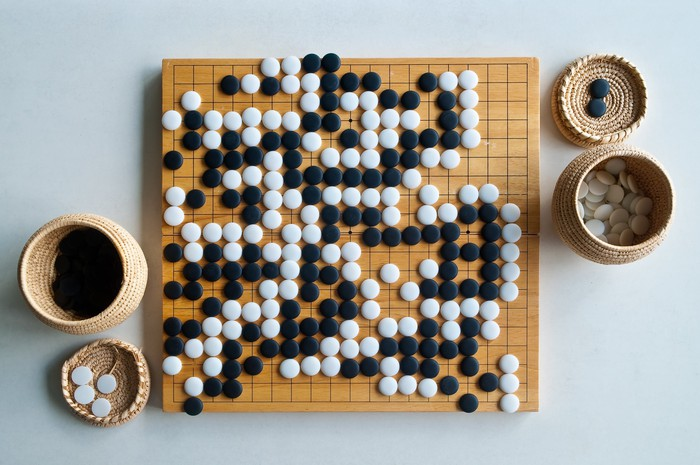 The traditional game of Go.