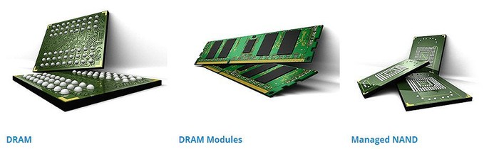 Three of Micron's memory product categories -- DRAM, DRAM Modules, and Managed NAND.