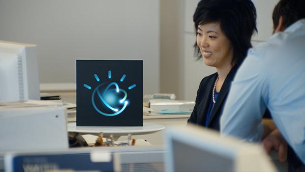 Woman interacting with IBM's Watson AI