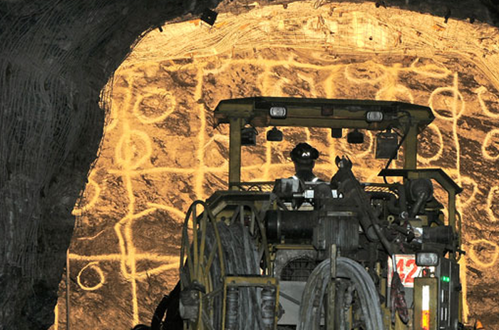 A Hecla miner at work.