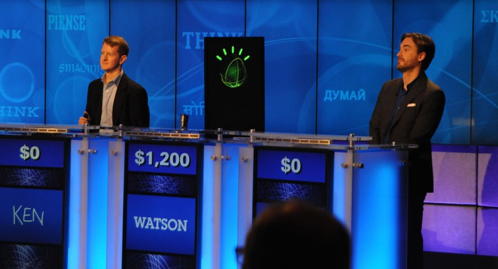 "IBM Watson vs. Ken Jennings and Brad Rutter in a rollicking game of ""Jeopardy!"""