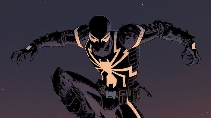 Comic book illustration of Marvel's Venom character.