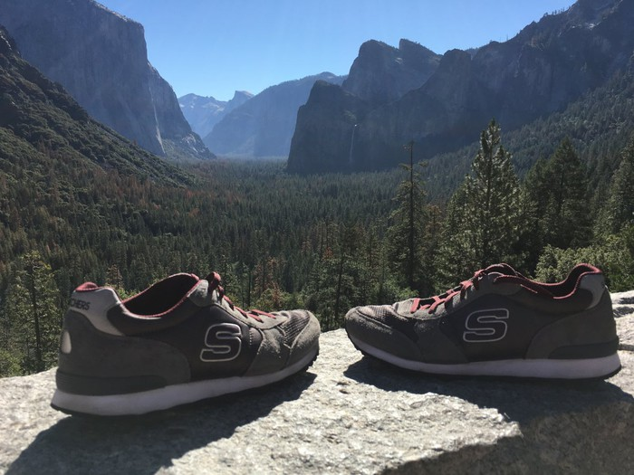 A pair of Skechers shoes with a mountain in the background.