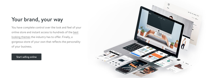 Shopify's homepage, showing a computer with a person's business e-commerce platform on it.