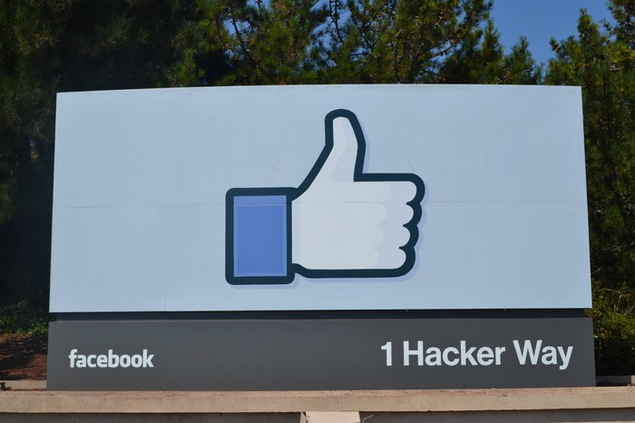 """The Facebook thumbs-up """"like"""" logo."""