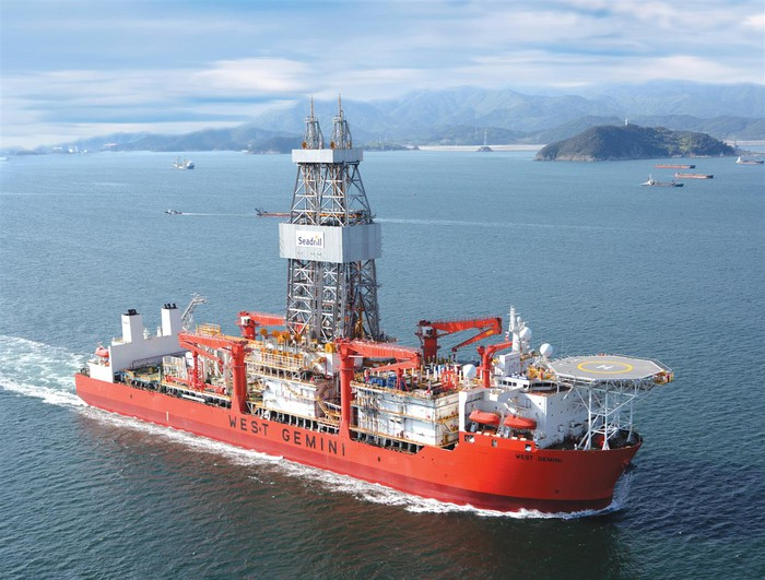 An offshore drilling ship.