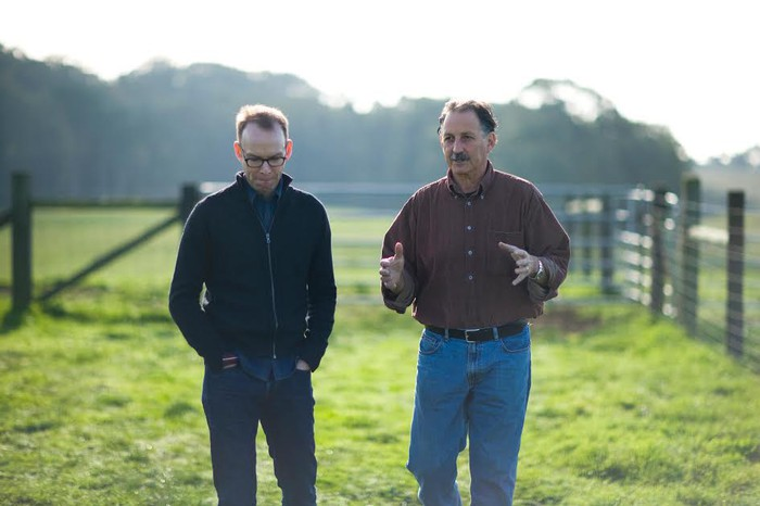 Steve Ells visiting a farm