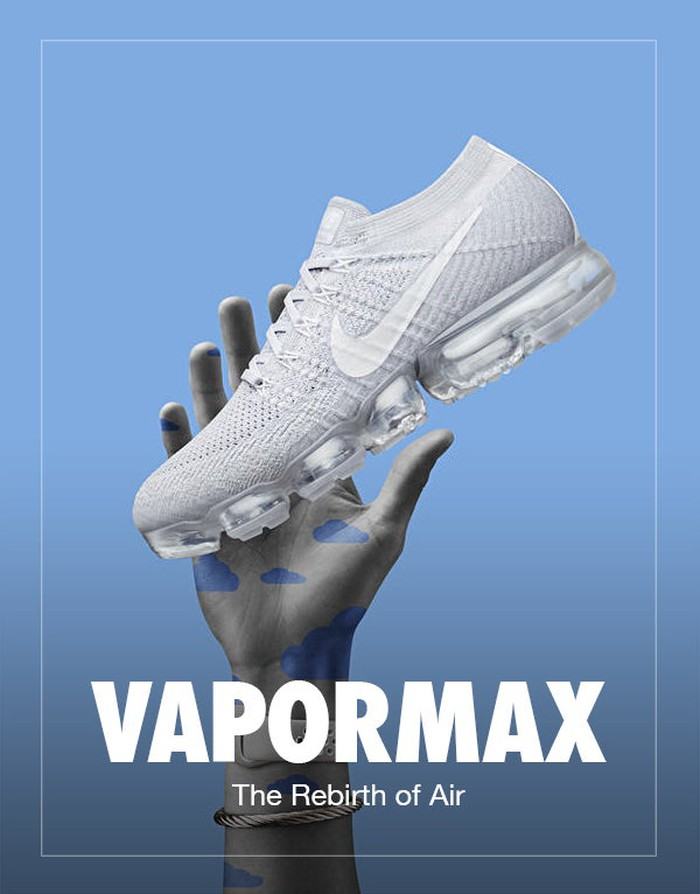 A hand holds a new Nike Vapormax shoe up but it starts to float away depicting how lightweight it is.
