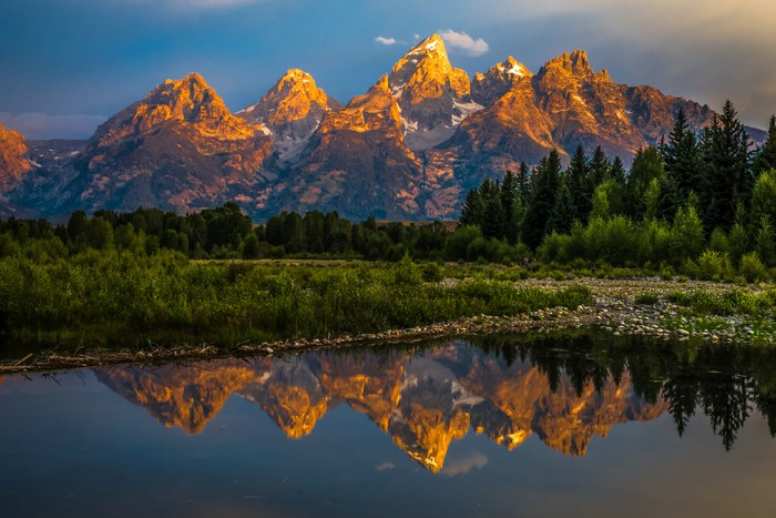 Grand Teton mountains at sunset