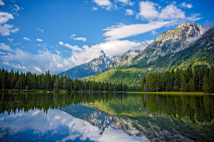 String Lake's glassy surface reflects the surrounding evergreens and mountains, along with the clear blue sky