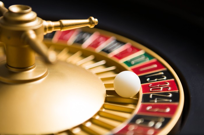 A ball spins on a roulette gaming wheel.