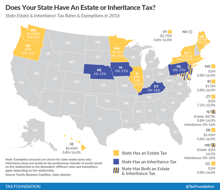 A chart of the states that have death taxes