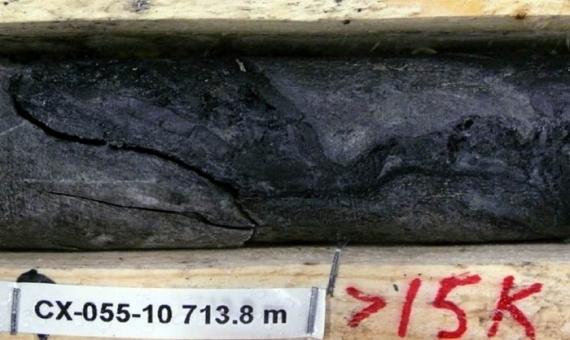 A core sample at a uranium mining site.