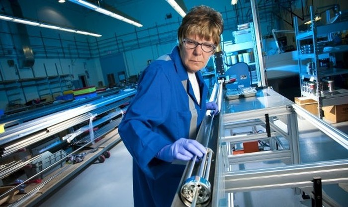 A Cameco employee working at a uranium processing facility.
