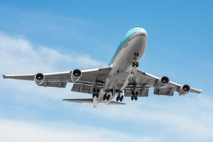 A modern Boeing 747 in flight.