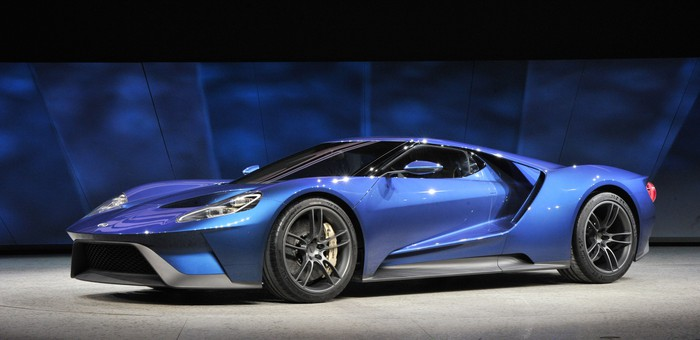 A blue Ford GT.