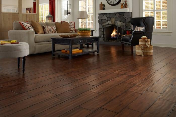 Room with Lumber Liquidators flooring.