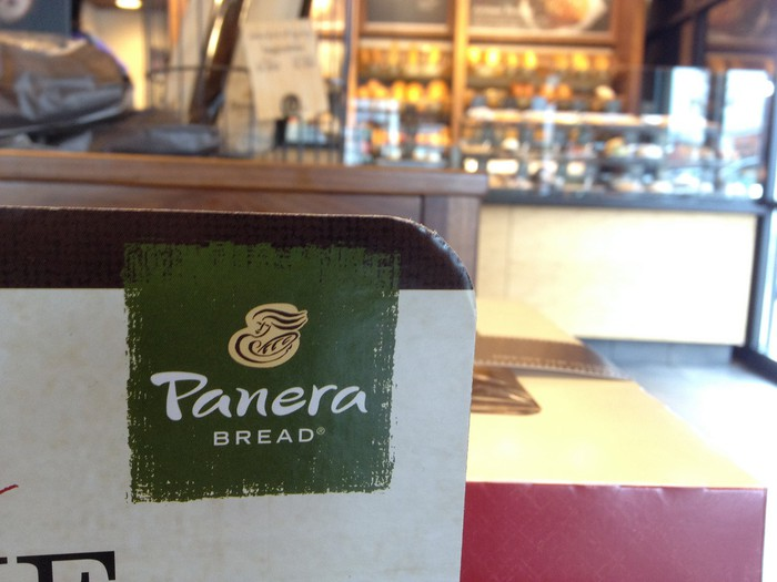 A counter at a Panera cafe