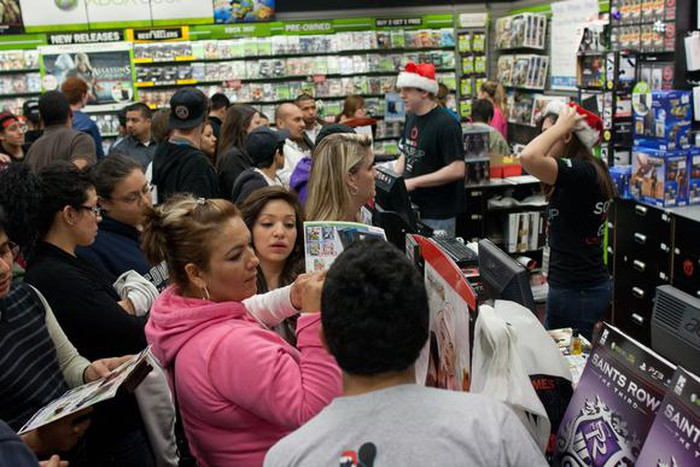 Crowds lined up at GameStop.