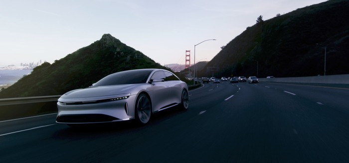 Lucid Air driving near the Golden Gate Bridge