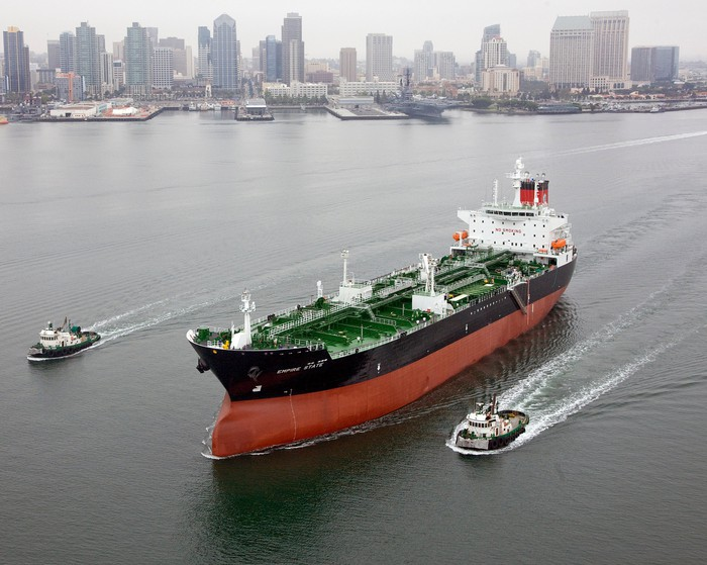 An oil tanker in the harbor.