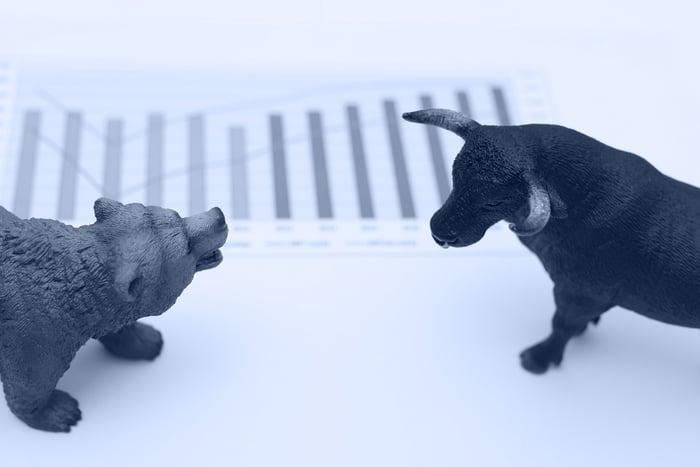 Bull vs bear atop a printed bar chart.