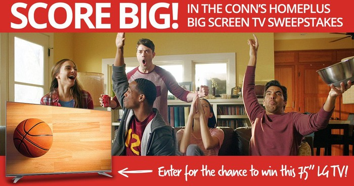 A Conn's ad for a big-screen TV giveaway