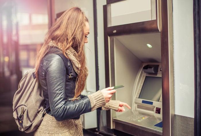 Woman at a bank ATM