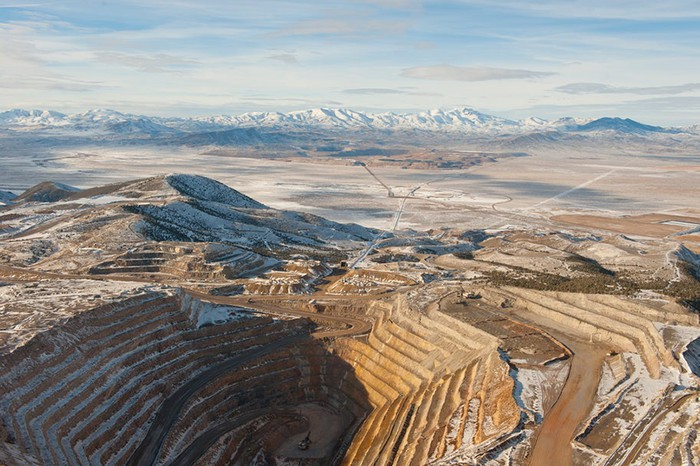 An aerial view of the Cortez mine.