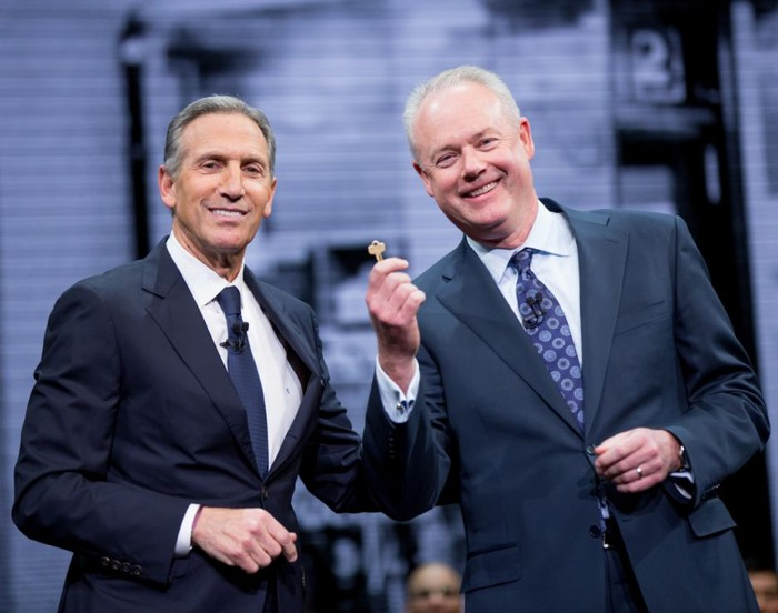 CEO Kevin Johnson, with Howard Schultz