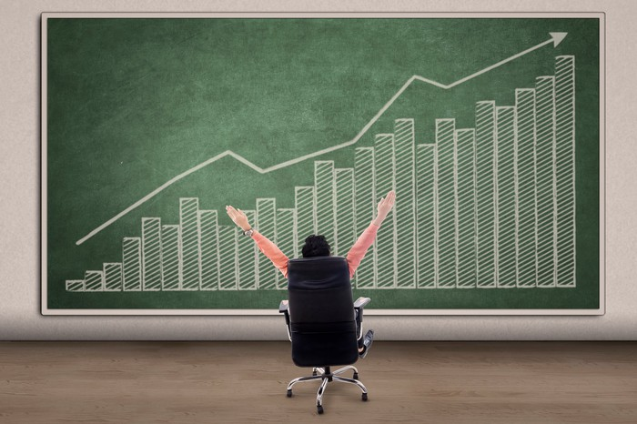 A man looks at a financial chart featuring an uptrend with arms raised in celebration.