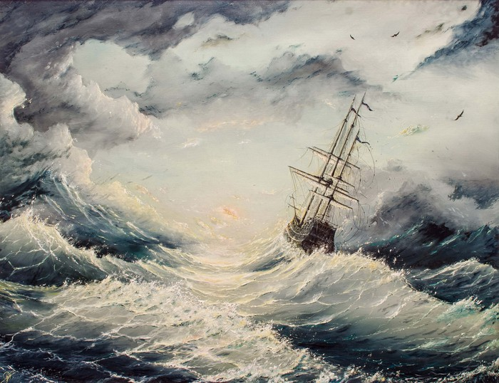 Oil painting of a ship in a storm.