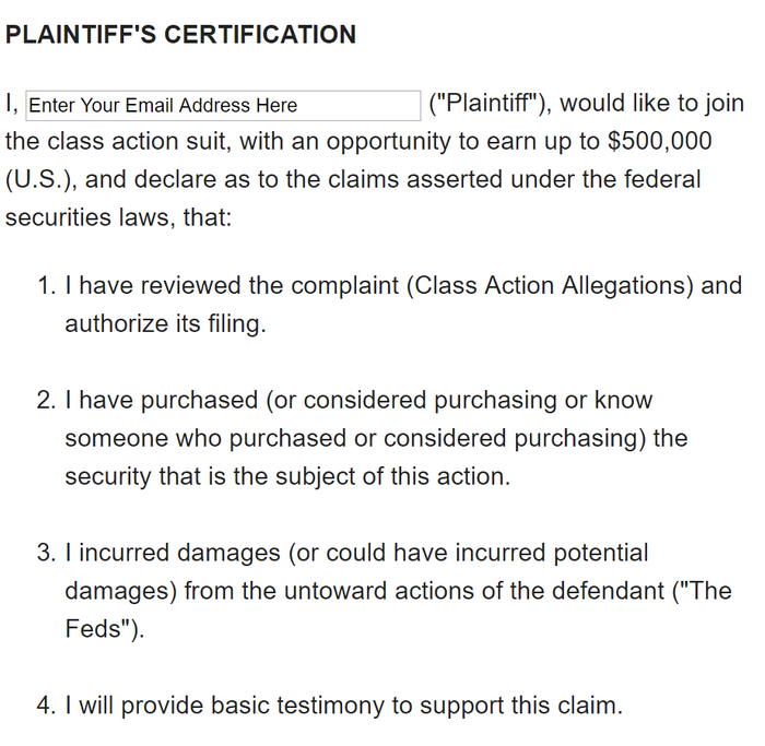 PLAINTIFF'S CERTIFICATION
