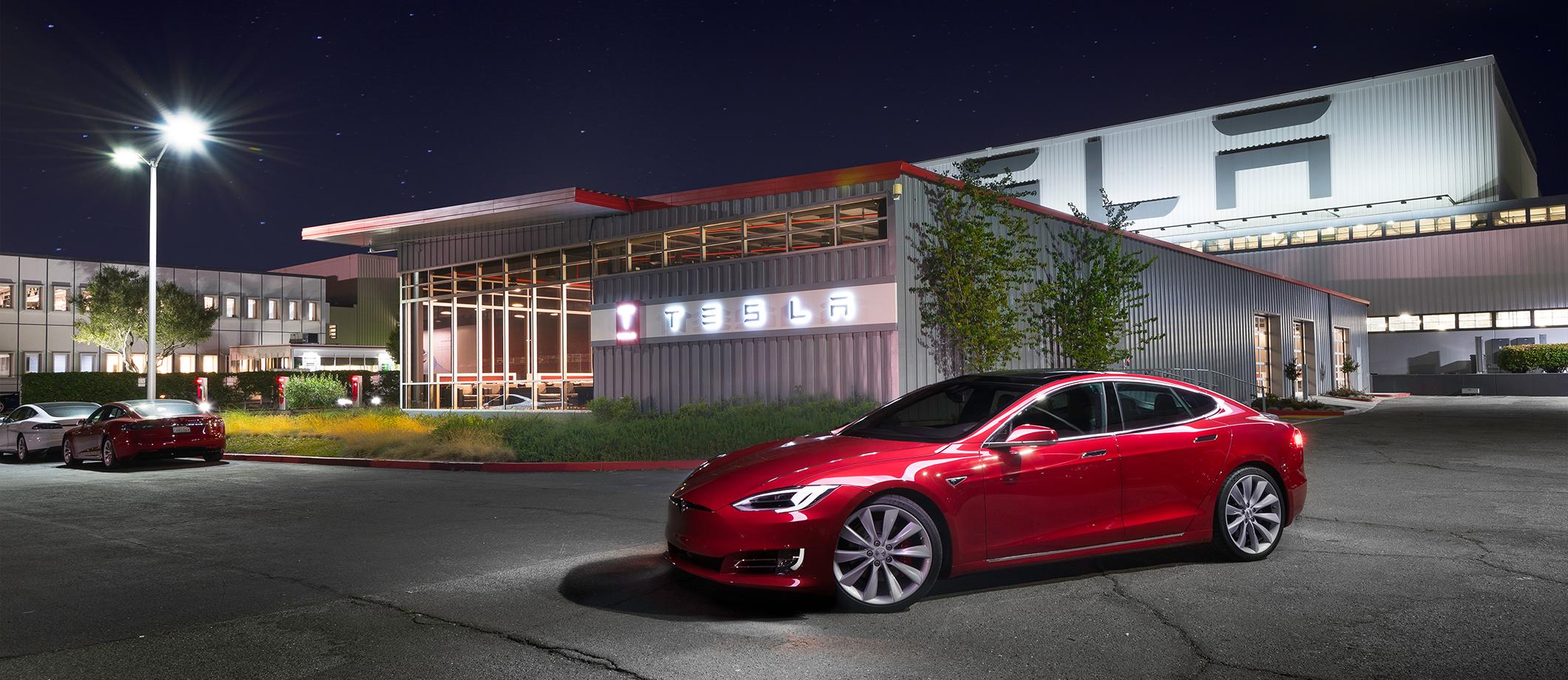 Model S parked outside of Tesla's Fremont factory