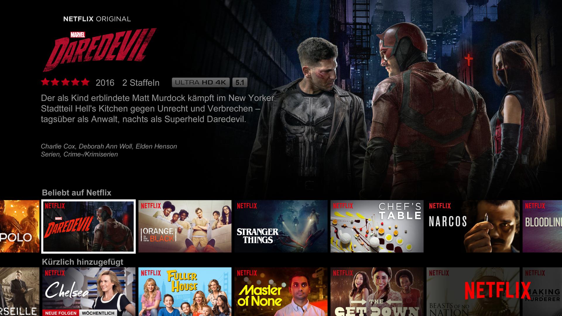 Netflix website featuring Marvel's Daredevil in German.