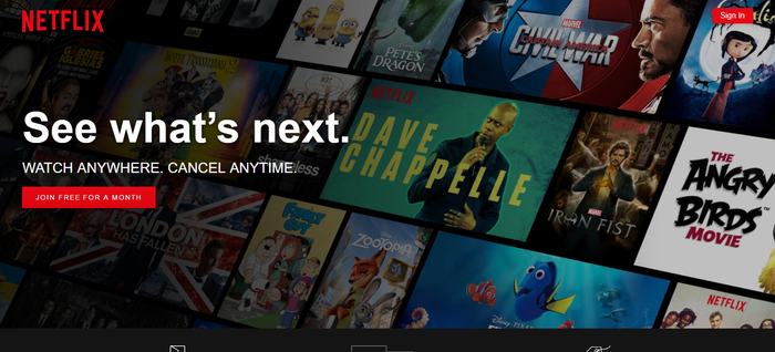 Netflix landing page showing a variety of programs available to subscribers.