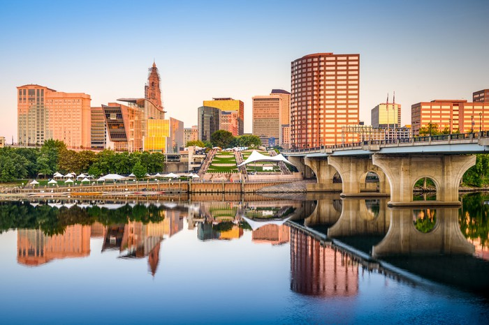 Hartford, Connecticut city skyline.