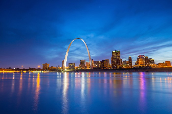 St. Louis, Missouri, with Gateway Arch at night.