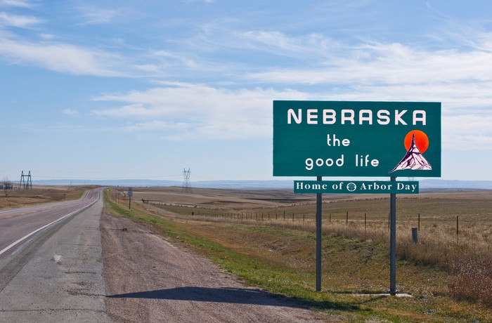 Nebraska welcome sign.
