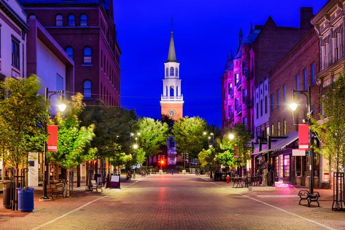 Downtown Burlington, Vermont.